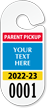 Custom Parent Pickup Permit for Rear View Mirror