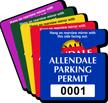 Customizable Plastic Parking Permit Mini Hang Tag