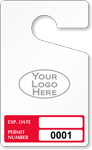Expiration Date Rearview Mirror Hang Tag With Logo