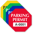 Parking Permit Octagon Shaped Sticker