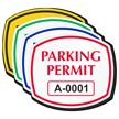 Parking Permit Squarish Oval Shaped Sticker