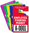 Employee Parking Permit Mirror Hang Tag