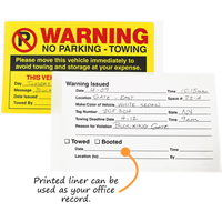 Warning Move Vehicle Avoid Towing Sticker
