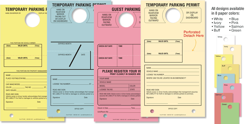 Temporary Parking Hang Tags – Large