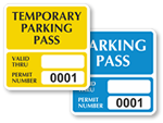 Temporary Parking Decals