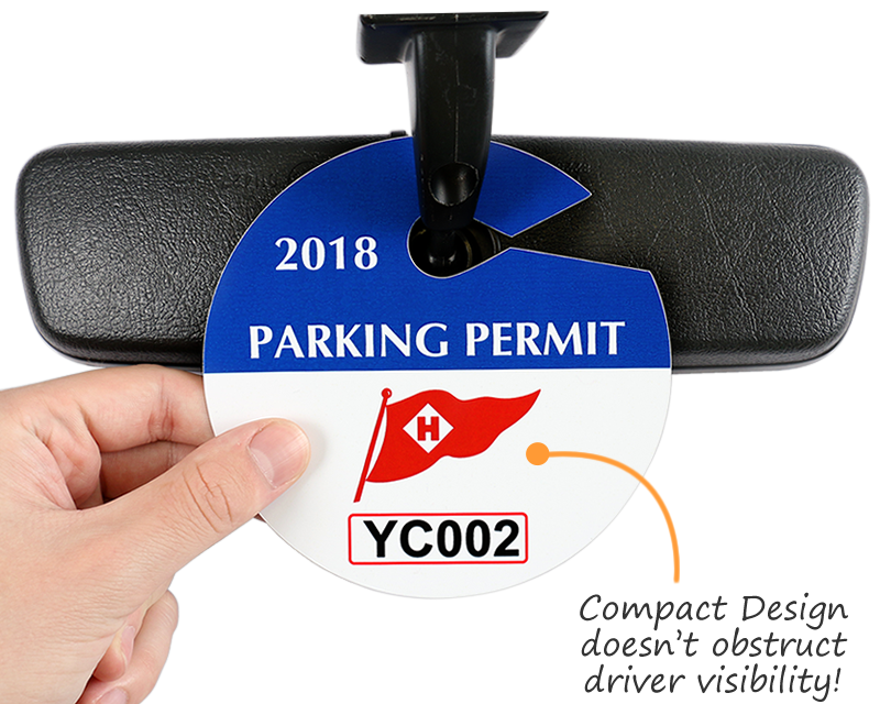 Circular Custom Parking Permit Hang Tags For Rear View Mirror