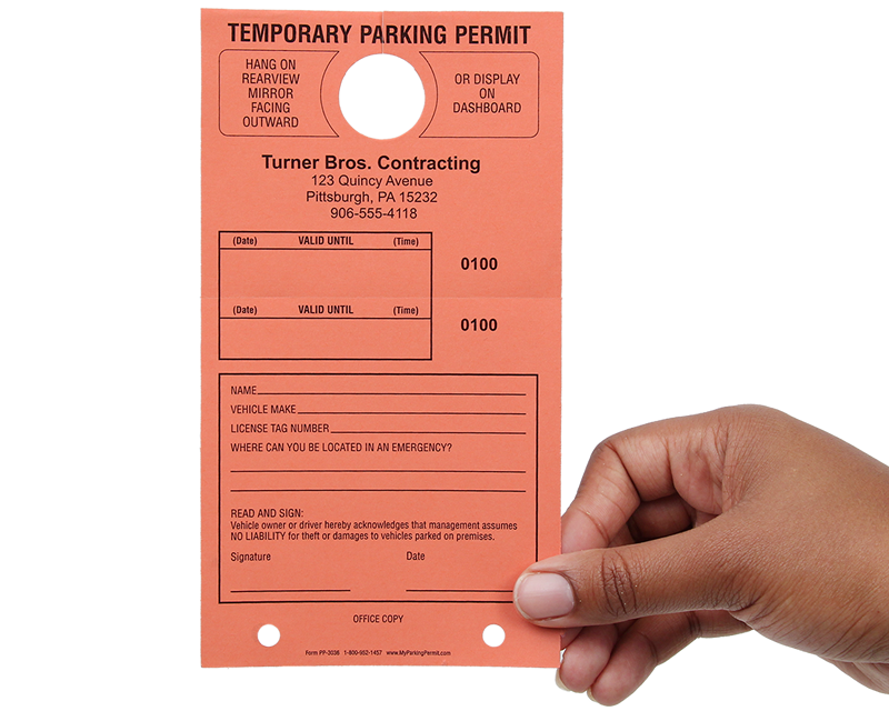personalized temporary parking hang tags