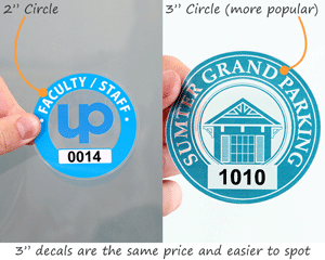 "2"" compared to 3"" circular parking permit sticker"
