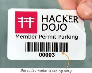 Barcode parking permit decals