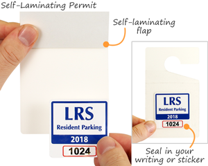 Blank self-laminating permit hang tag