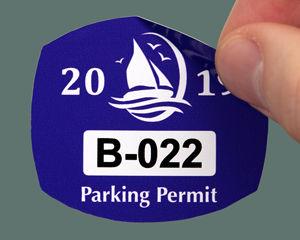 Blue parking sticker
