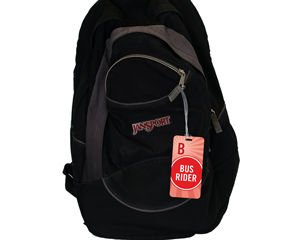 Bus Rider backpack tag for children