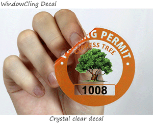 clear parking permit decals