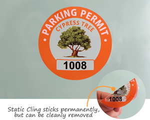 Static cling parking permit stickers