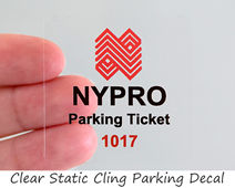 Clear static cling parking permit