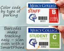 Color coded barcode permit stickers with barcodes