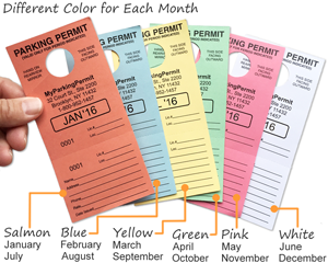 Color-Coded Parking Permit Hang Tags