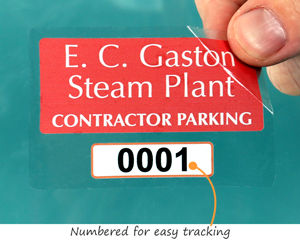 Contractor parking permit stickers with numbers