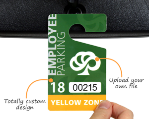 Custom employee parking tag design