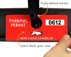 Custom horizontal parking permit tag