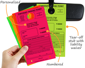 Custom paper fluorescent parking passes