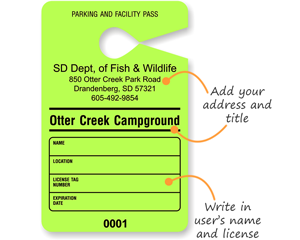 Custom Paper Temporary Parking Passes