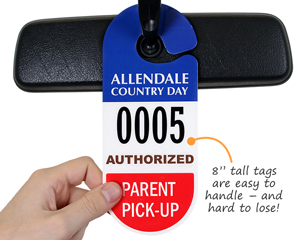 Custom parent pick up tag