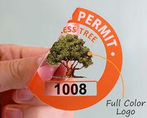 Custom parking permit sticker with logo