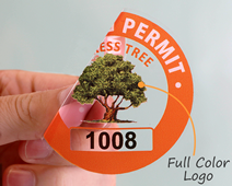 Custom parking permit sticker with logo