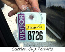 Custom parking permit with suction cup