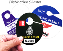 Custom printed and die-cut parking permit hang tags