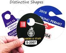 Custom printed and die-cut parking permit hang tags
