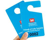 Custom vertical hang tag permit