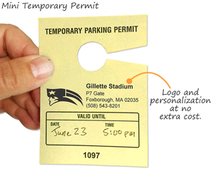 Customized parking hang tag for temporary use