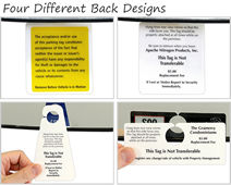 Designs for the back of parking tags