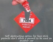 Destructible parking permit sticker