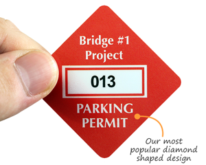 Diamond shaped parking permit decal