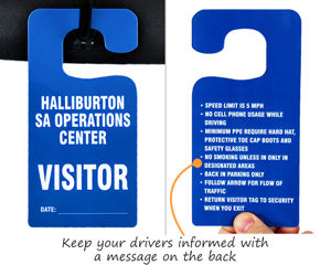 Double sided parking permit hang tags