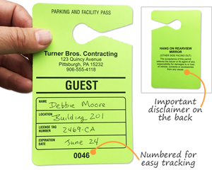image regarding Printable Parking Pass called Visitor Parking Pes Personalize On-line