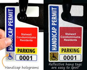 Hologram parking hang tag permits