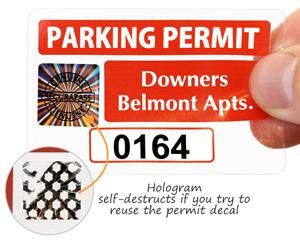 Hologram parking permit sticker