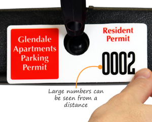 Horizontal parking permit with tall numbering