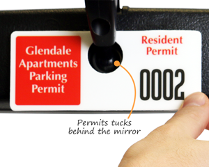 Horizontal parking tag for apartments