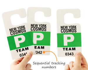 Large parking permit hang tags with tracking numbers