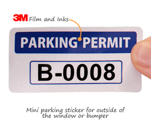 Mini parking decals for bumpers