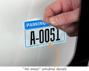 No mess decals for parking permits