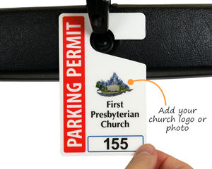 Church parking permit with logo