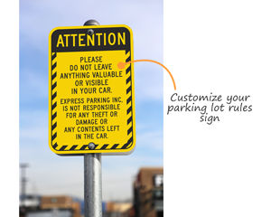 Parking lot rules sign