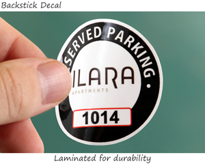 circular parking permit sticker