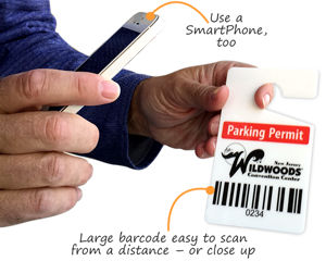 Parking permit hang tag with barcode